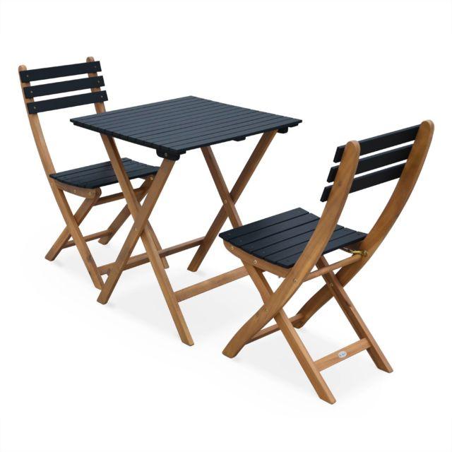 ALICE\'S GARDEN - Table de jardin bistrot en bois 60x60cm - Barcelona ...