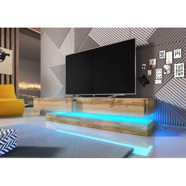 Vivaldi Meuble Tv Design Fly coloris chêne Wotan. Eclairage à la Led bleue