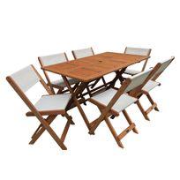 Salon de jardin repas Séoul - 1 Table + 6 chaises - Maple - Beige