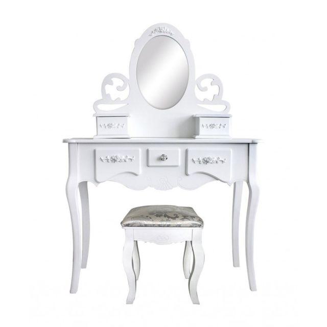 Mobili Rebecca - Coiffeuses Toilette Maquillage 5 Tiroir Miroir Tabouret  Bois Blanc Chambre Bain 89970dc8172f