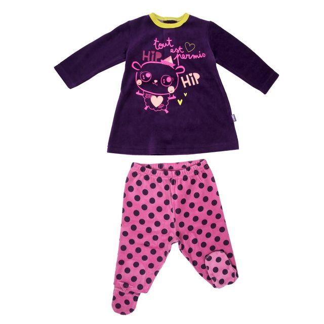 d53da68d40382 Petit Beguin - Pyjama velours bébé fille Hip Hip - Taille - 36 mois 98 cm  Multicolore - pas cher Achat   Vente Ensembles - RueDuCommerce