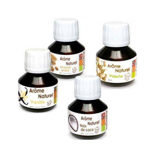 Scrapcooking Kit 4 arômes alimentaires naturels pour pâtisserie - amande-vanille-coco-pistache