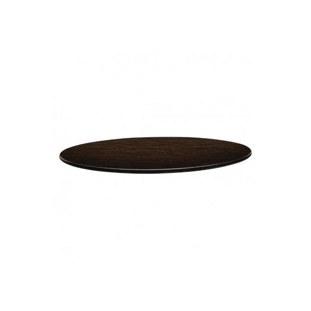 Topalit Plateau de table wengé rond 800 mm - Smartline - Wengé 800 Ø, mm