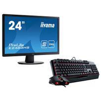 IIYAMA - Ecran 24 VGA DVI HDMI 2ms HP + Devastator 2 RED