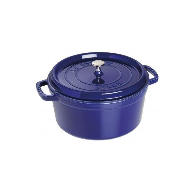 staub cocotte ronde 24 cm majolique bleu intense pas cher achat vente cocotte. Black Bedroom Furniture Sets. Home Design Ideas