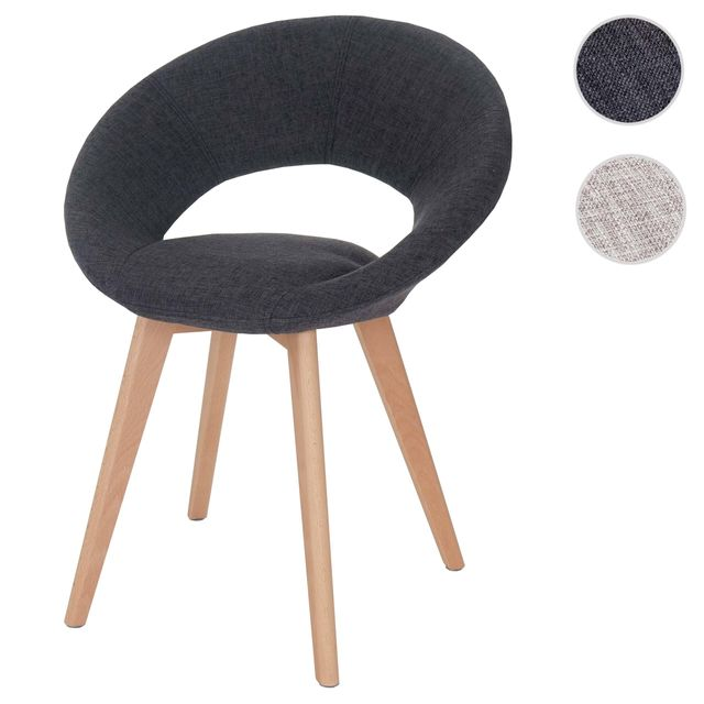 Mendler Chaise de salle à manger Palermo Iii, fauteuil, design rétro des années 50 ~ tissu, gris foncé