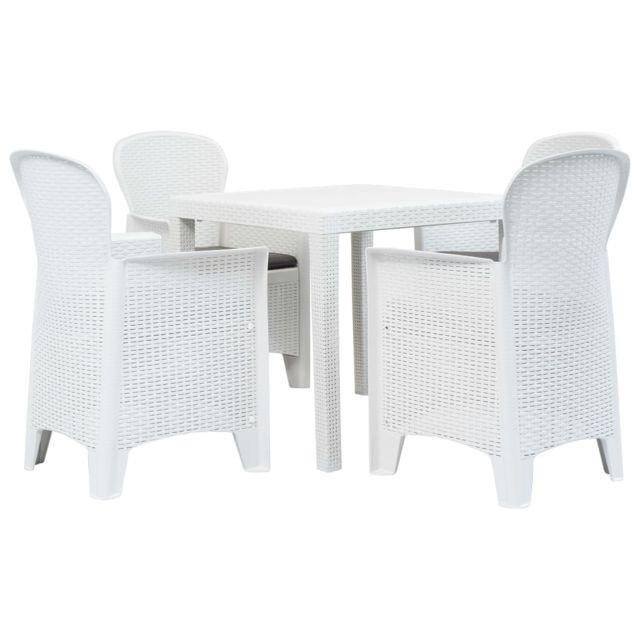 Vidaxl Meuble à dîner d'extérieur 5pcs Plastique Blanc Aspect de rotin