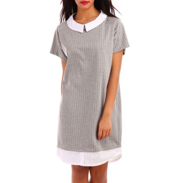afe6f5980 La Modeuse - Robe gris clair col claudine - pas cher Achat / Vente ...