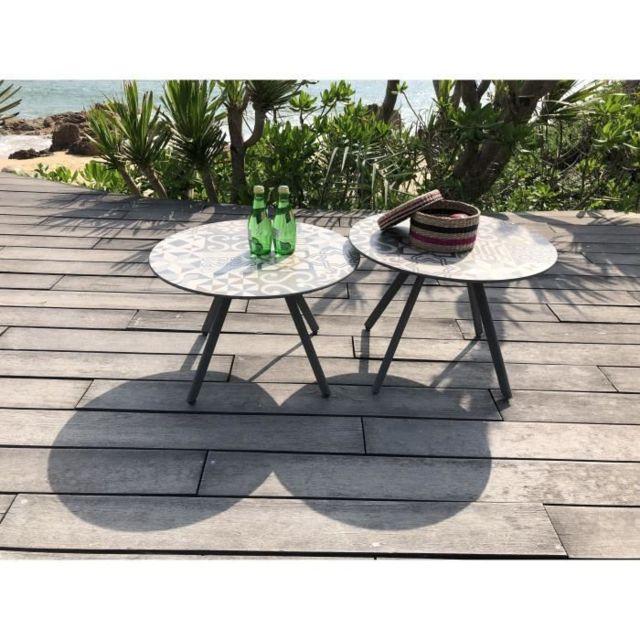 TABLE DE JARDIN VENDUE SEULE Lot de 2 tables rondes base en métal avec  plateau en gres - Noir