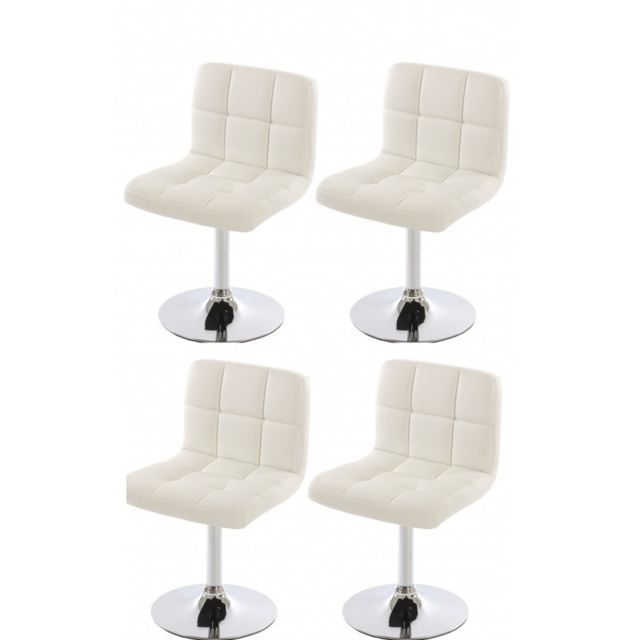 Autre Lot de 4 chaises fauteuils de salle à manger en simili-cuir blanc Cds04169