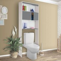 Meuble De Rangement Pour Toilette.Meuble Etagere Dessus Wc En Bois Coloris Gris