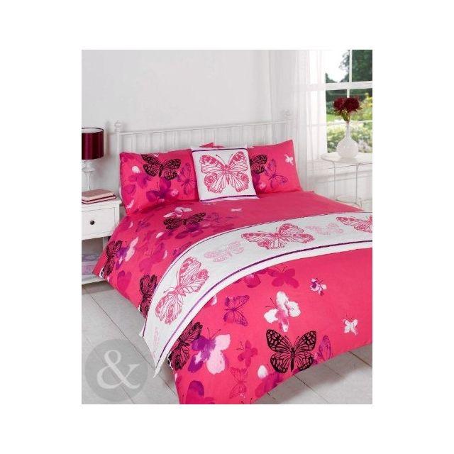 just contempo parure de lit 5 pi ces motif papillons polyester rose noir lilas violet fuchsia. Black Bedroom Furniture Sets. Home Design Ideas