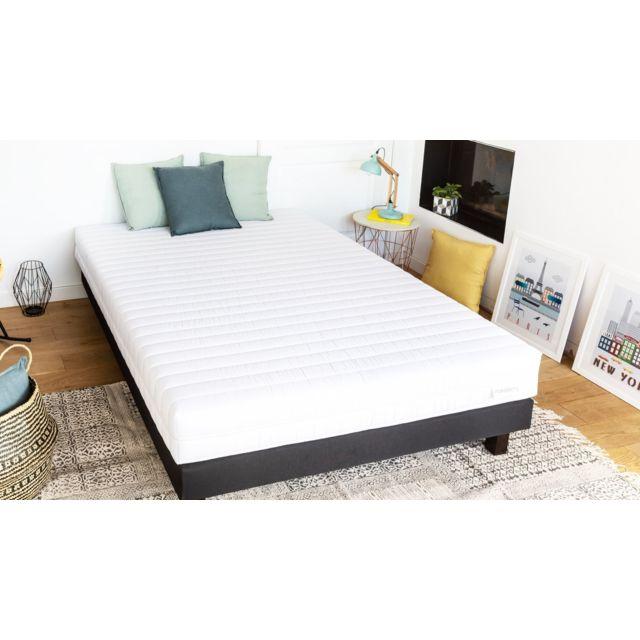 hbedding ensemble matelas mousse haute densit sommier 90x190 ergo plus coutil microfibre. Black Bedroom Furniture Sets. Home Design Ideas