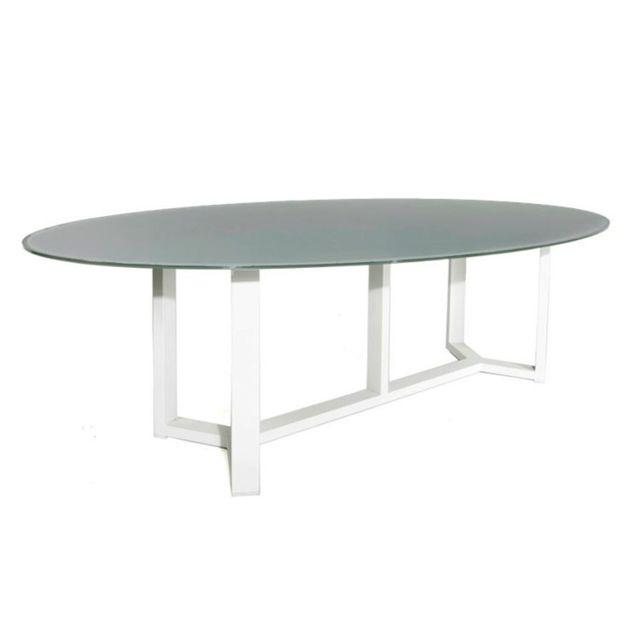 Gecko Jardin - Table alu blanc et verre gris 260 x 130 cm Catanzaro ...