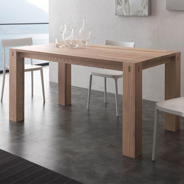 Nouvomeuble Table à manger en bois massif contemporaine Tobi