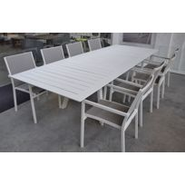 Salon Ofanto table 200/300 alu blanc + 8 chaises Brian