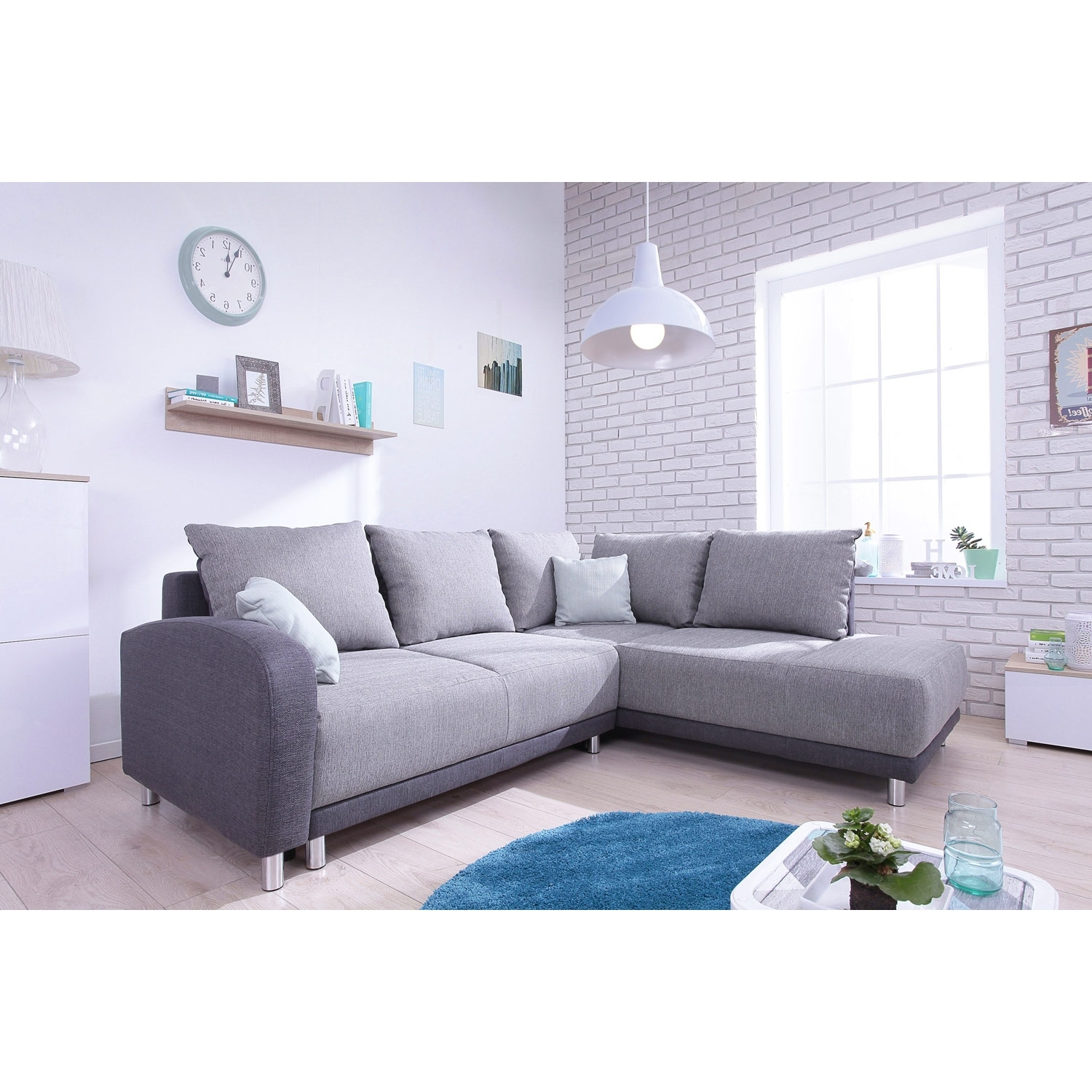 bobochic canap convertible scandinave minty grand angle droit tissu gris clair gris. Black Bedroom Furniture Sets. Home Design Ideas