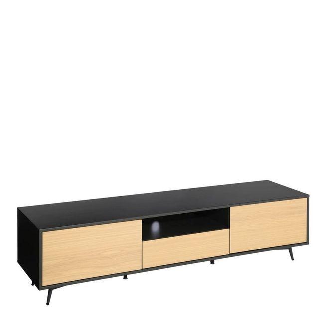 Ma Maison Mes Tendances Meuble Tv 2 portes 1 tiroir 1 niche en métal noir et Mdf imitation bois Eeva - L 180 x l 42 x H 45