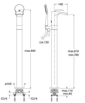Ondyna - Mitigeur cascade bain/douche sur colonne Bollicine Bo18951+PD29000