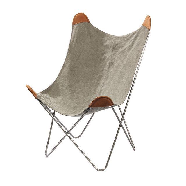 Pomax Fauteuil en coton pied métal coloris gris 93,5x93,5x100cm Relax