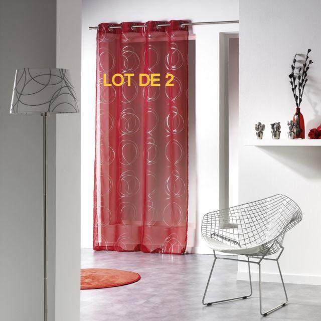 Douceur dInt/érieur CDaffaires Lot 2 voilages a Oeillets 140x240 Voile Imprime Metallise tinette Blanc//Argent