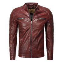 Marque Generique - Veste cuir coupe ajustée Veste homme 1004 rouge