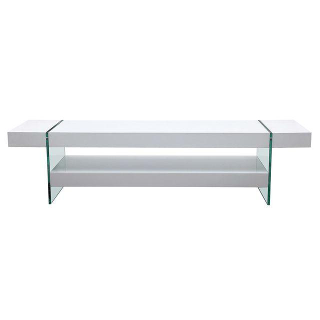 Axe Design Meuble Tv 2 plateaux en bois et verre trempé Longueur 160 cm Medley