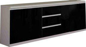 Comforium Bahut design blanc et noir laqué à 3 portes et 3 tiroirs