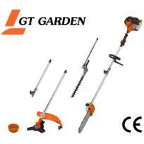 GT GARDEN - Multifonction thermique 4 en 1 : tronçonneuse - débroussailleuse - taille-haies et rallonge