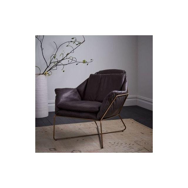Wewoo Fauteuil Sofa de salon de balcon simple moderne d'art de ferPieds d'or + coussin en cuir