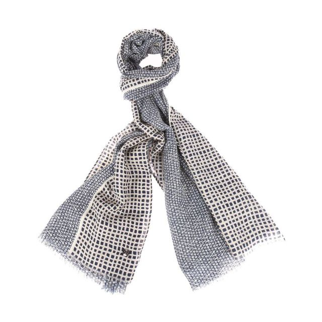 Pierre cardin - Echarpe en laine à motifs bleu marine et beige - pas cher  Achat   Vente Echarpes, foulards - RueDuCommerce bd0a9218ace