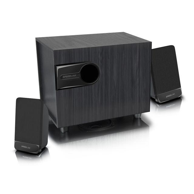 SPEEDLINK LIBITONE Le système de haut-parleurs 2.1 LIBITONE séduit par son volume sonore bien équilibré. Le caisson de basses délivre des graves marquantes, avec des aiguës et des médianes en parfaite harmoni