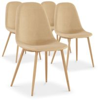 menzzo lot de 4 chaises scandinaves gao tissu beige - Chaise Scandinave Pas Cher
