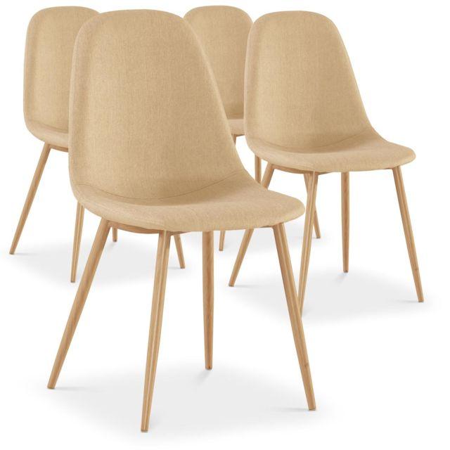 menzzo lot de 4 chaises scandinaves gao tissu beige pas cher achat vente chaises. Black Bedroom Furniture Sets. Home Design Ideas