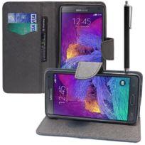 Vcomp - Housse Coque Etui portefeuille Support Video Livre rabat cuir Pu effet tissu pour Samsung Galaxy Note 4 Sm-n910F/ Note 4 Duos Dual Sim, N9100/ Note 4 CDMA, / N910C N910W8 N910V N910A N910T N910M + stylet - Noir
