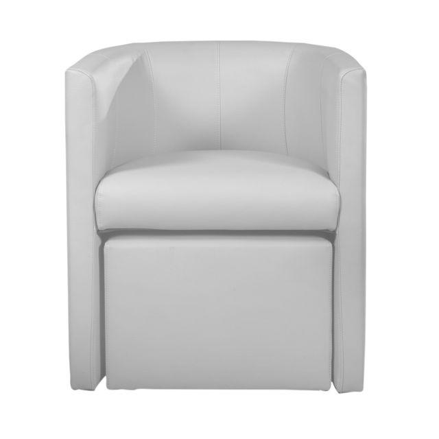 alin a clap fauteuil style cabriolet avec pouf imitation cuir blanc pas cher achat vente. Black Bedroom Furniture Sets. Home Design Ideas