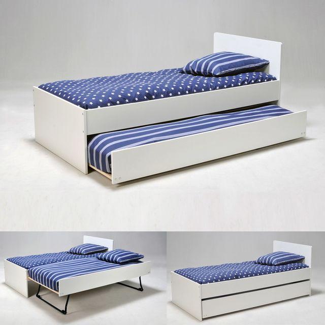 lit gigogne 90x190 cm avec 2 sommiers lattes en bois sun blanc nc pas cher achat vente. Black Bedroom Furniture Sets. Home Design Ideas