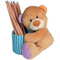Mbw - Peluche ours pot à crayons - 60687 marron bleu et orange