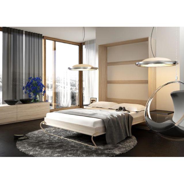 Lit Escamotable Vertical 90 X 200 Chene Sonoma