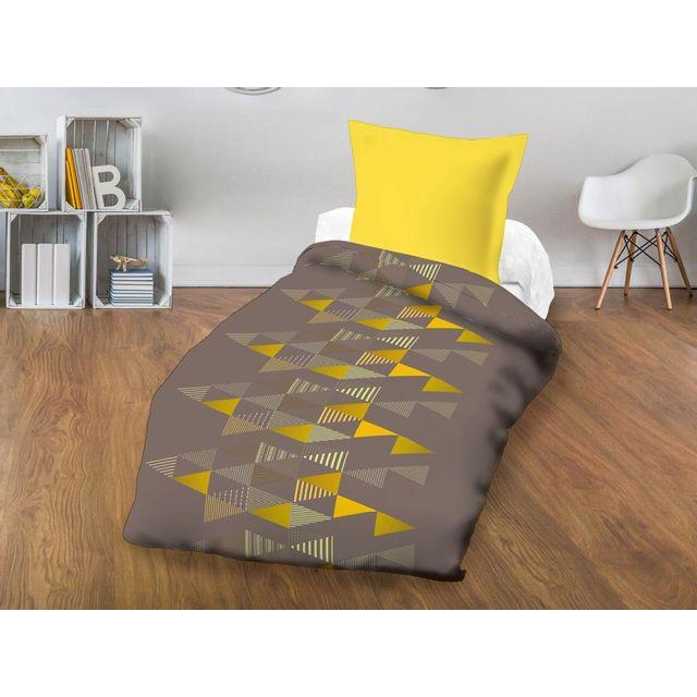 soleil d 39 ocre couette imprim e 140x200 cm stockholm moka par pas cher achat vente couettes. Black Bedroom Furniture Sets. Home Design Ideas
