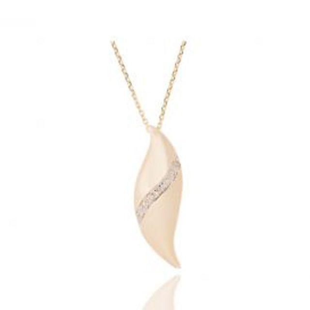 1b9cc21feac Ysora - Collier Réglable En Or Jaune Avec Motif Feuille Et Diamants ...