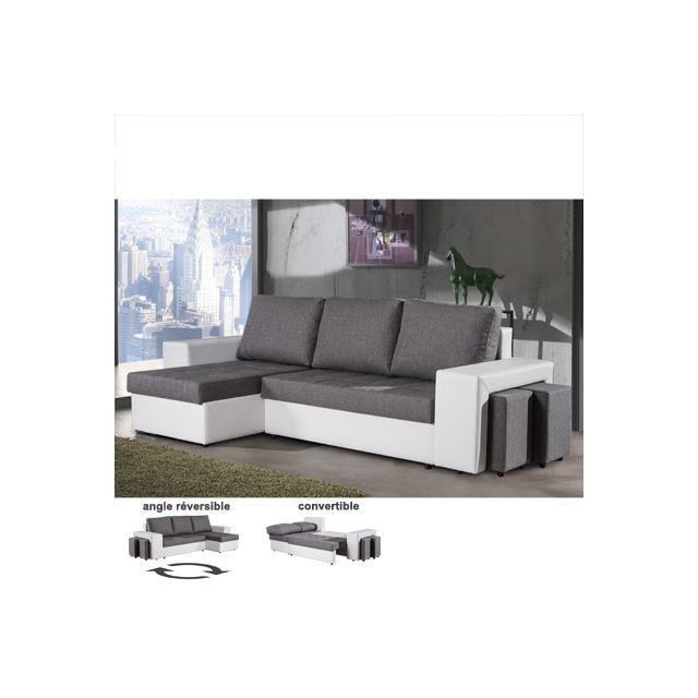Canapé d'angle réversible convertible gris et blanc Mariane
