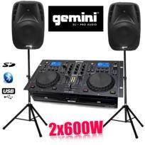 Gemini - Pack Sono 2 Enceintes Active Double lecteur