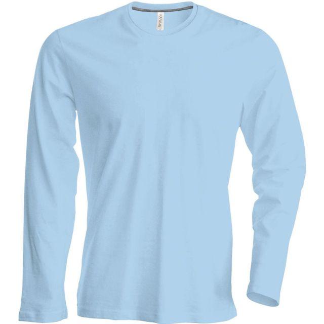 d03cbcb94ff6 Kariban - T-shirt manches longues col rond - K359 - bleu ciel - homme