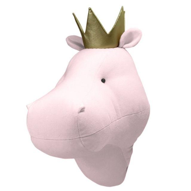 Sevira Kids - Décoration murale - trophée animal en peluche Hippopotame rose