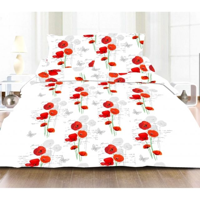 soldes matin calin parure de couette 3 pi ces coquelicot rouge microfibre 220cm x 240 cm pas. Black Bedroom Furniture Sets. Home Design Ideas