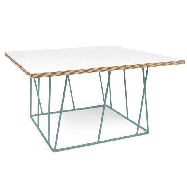 Inside 75 Tema Home Table basse carrée Helix 75 plateau blanc mat/bois structure laquée verte