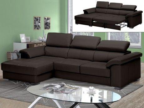Linea Sofa Canapé d'angle convertible cuir luxe Experiencia - chocolat - Angle gauche