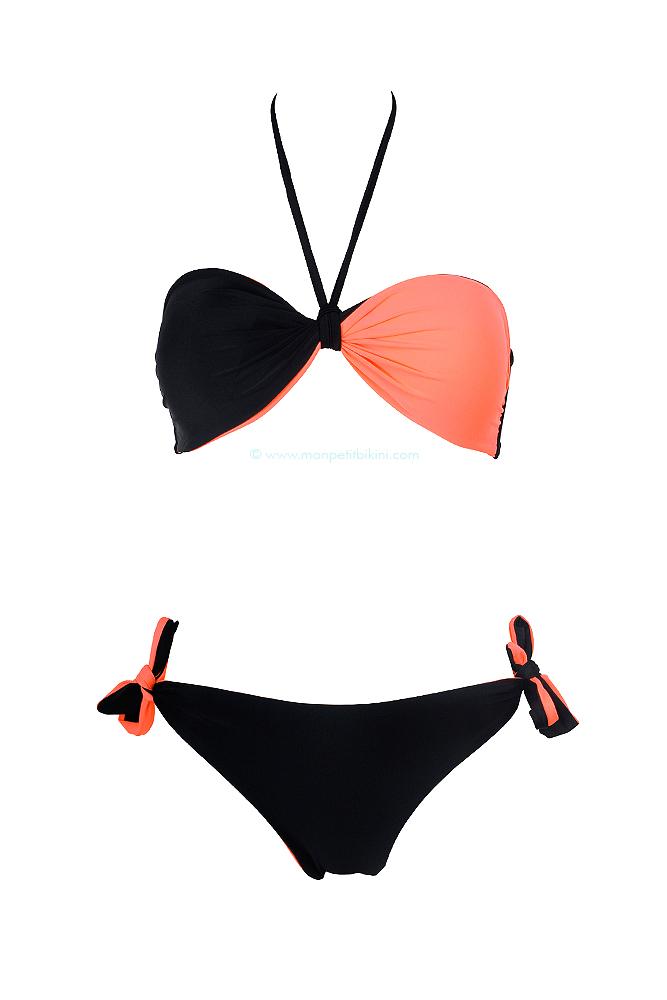 Lingerie Land - Maillot de bain deux pièces bandeau reversible corail et noir