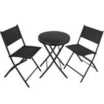 Textilène 2 Salon 1 Et En Acier Jardin Düsseldorf Chaises Personnes De Pliables Noir Table O8wnk0PX